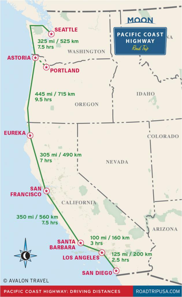 Highway 1 California Road Trip Map | Secretmuseum - Map Of Hwy 1 California Coast