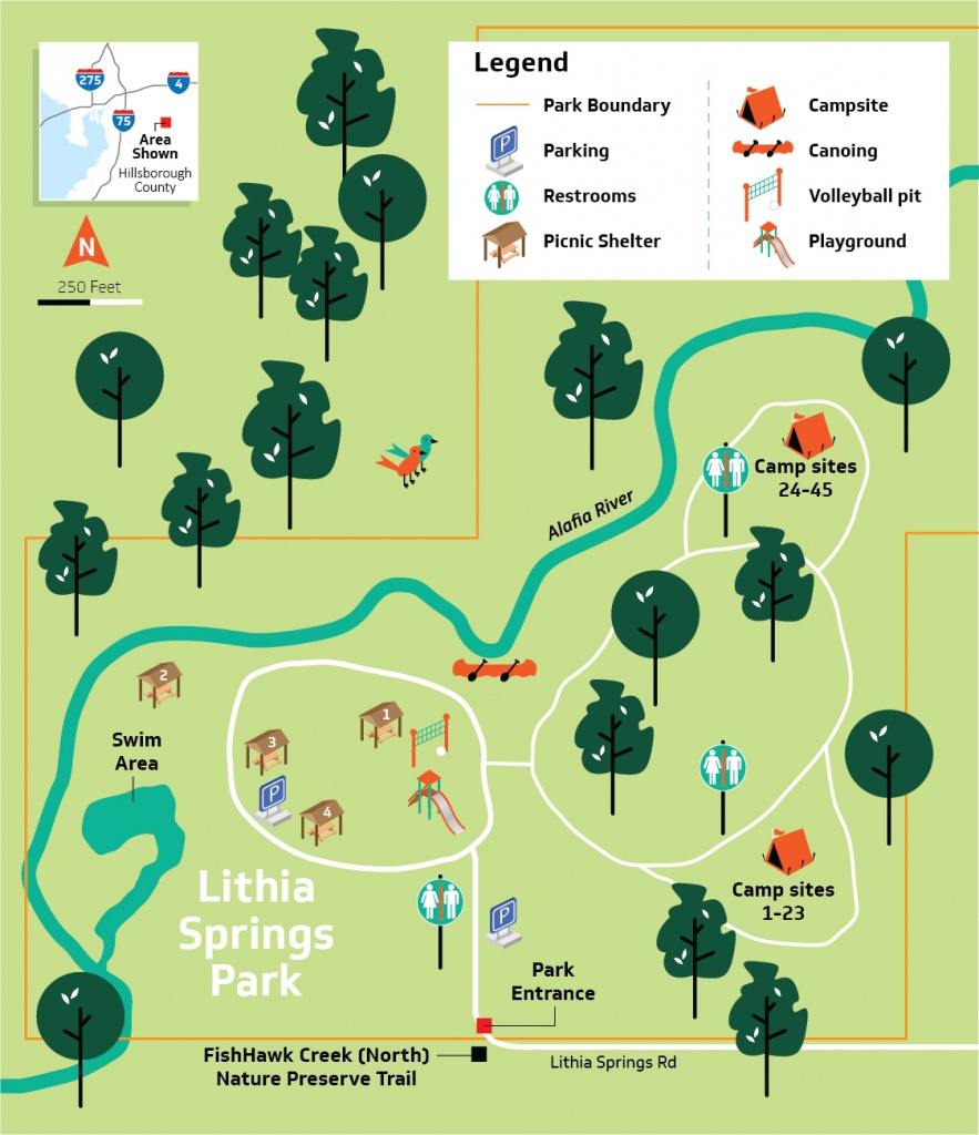 Hillsborough County - Lithia Springs Conservation Park - Map Of All Springs In Florida