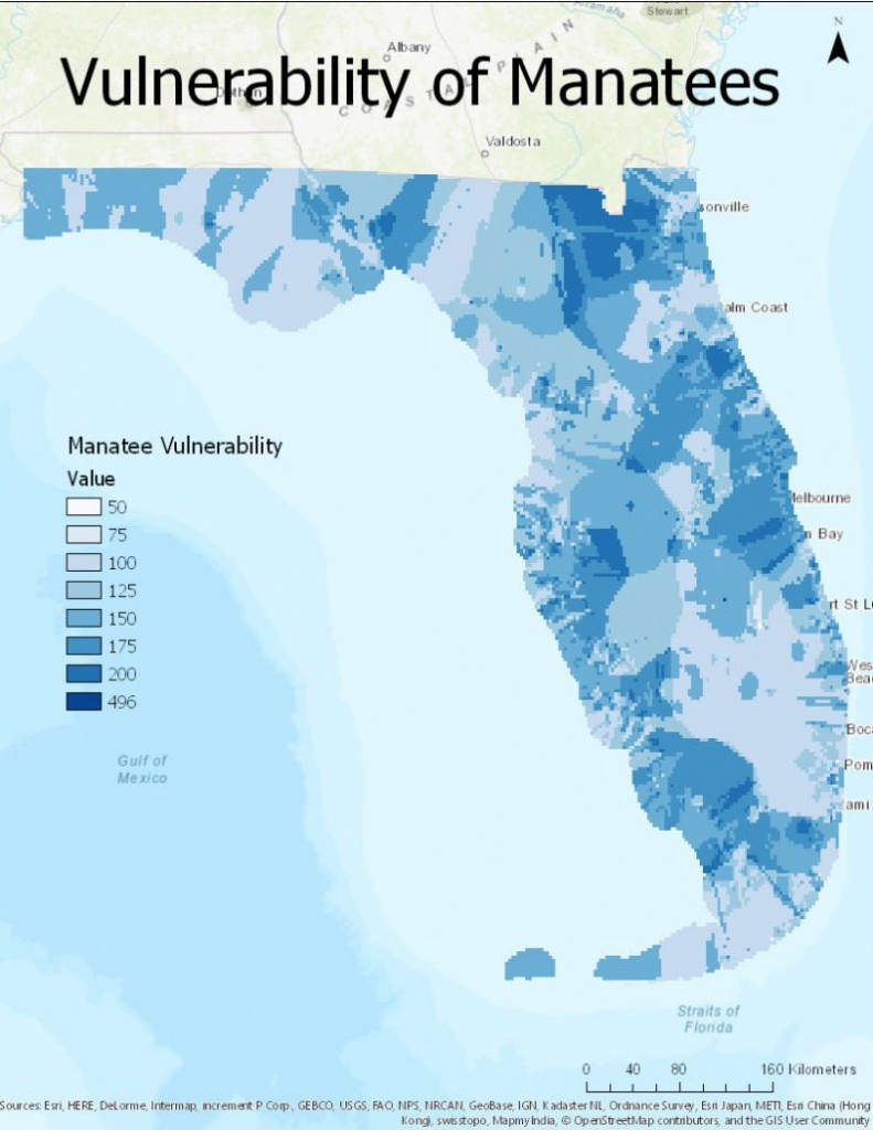Historical Vulnerability Of Manatees To Boat Strikes In Florida - Manatee Florida Map