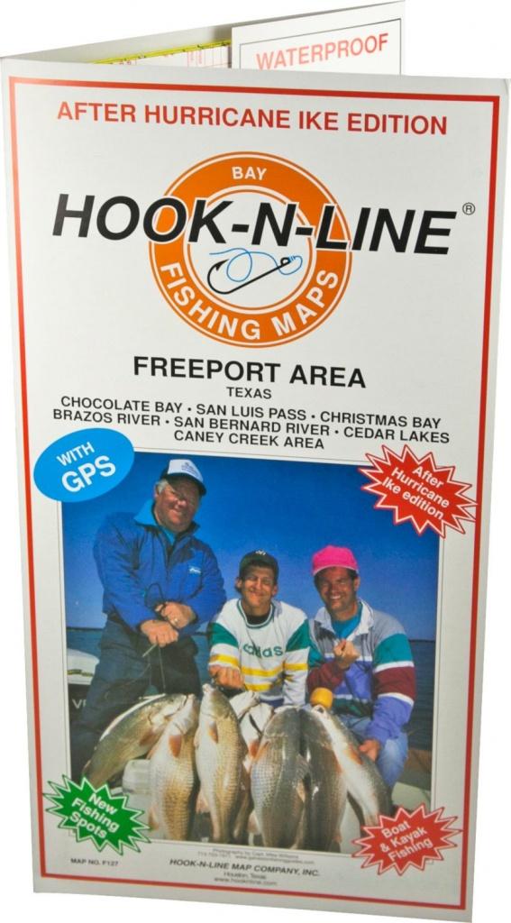 Hook-N-Line Map F127 Freeport Area Fishing Map (With Gps) - Austinkayak - Texas Saltwater Fishing Maps