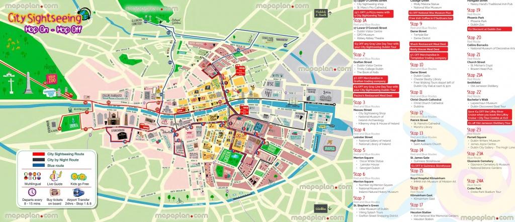 Hop Hop Off Bus Dublin City Sightseeing Tour Double Decker Open Top - Dublin City Map Printable
