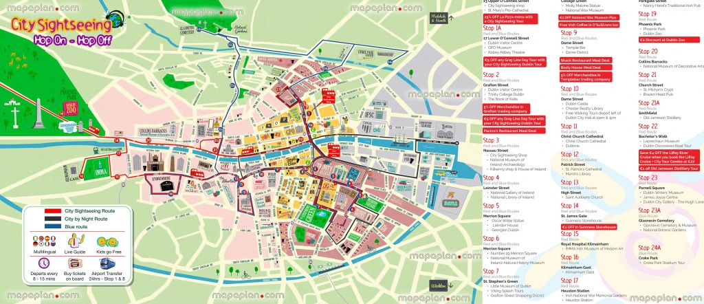 Hop Hop Off Bus Dublin City Sightseeing Tour Double Decker Open Top - Dublin Tourist Map Printable