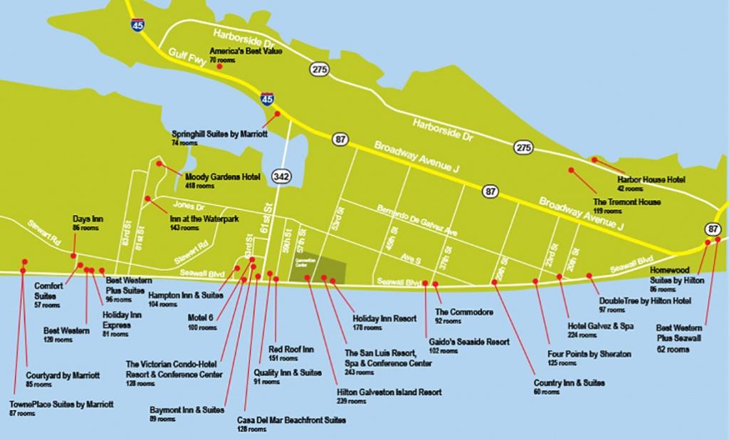 Hotel Map - Texas Galveston Map