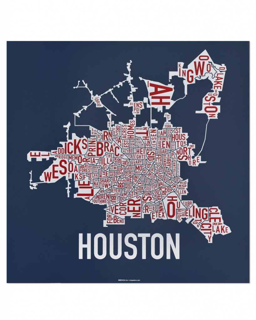 "Houston Neighborhood Map 18"" X 18"" Texas Pride Screenprint - Texas Map Poster"