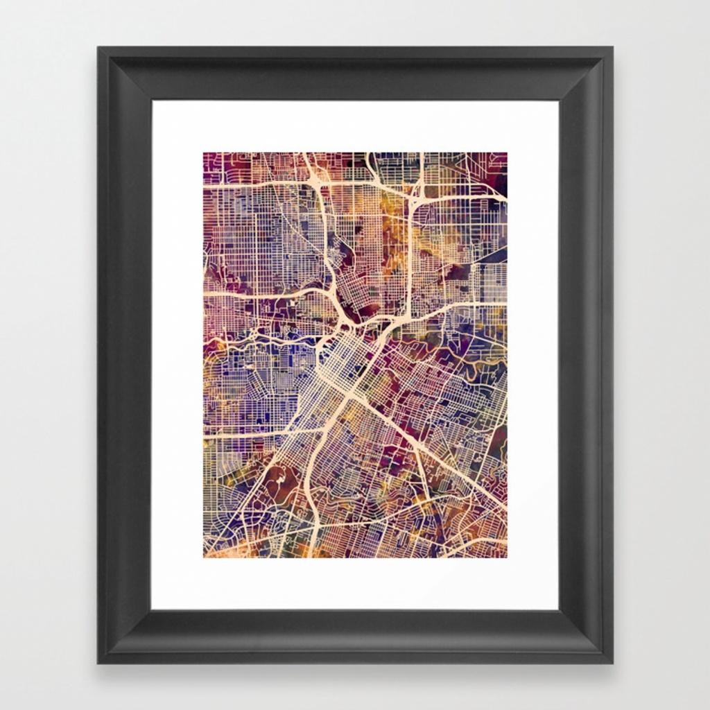Houston Texas City Street Map Framed Art Printartpause   Society6 - Texas Map Framed Art