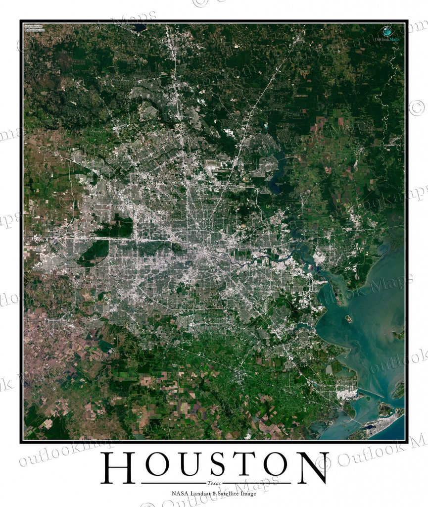 Houston, Tx Area Satellite Map Print | Aerial Image Poster - Satellite Map Of Texas