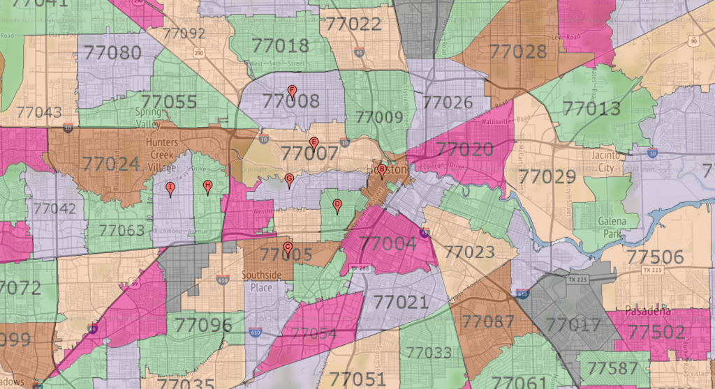 Houston Zip Code Maps | Ameritex Houston Movers - Map Of Northwest Houston Texas