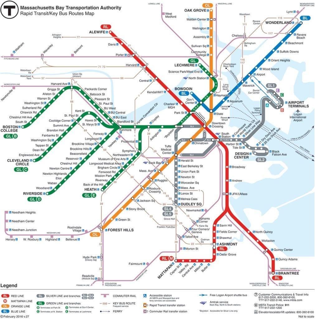 How To Use The Boston Subway   Map And Tips   Free Toursfoot - Mbta Subway Map Printable