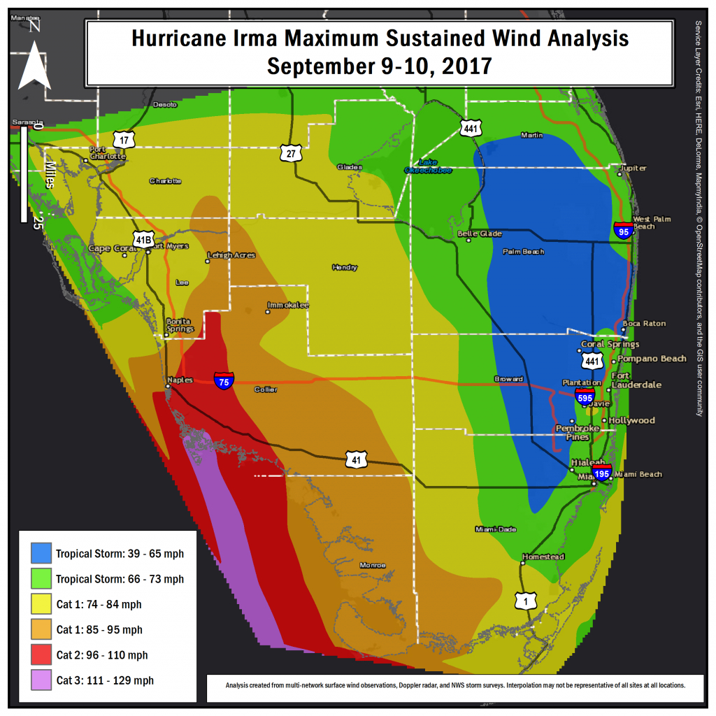 Hurricane Irma Local Report/summary - Florida Wind Speed Map