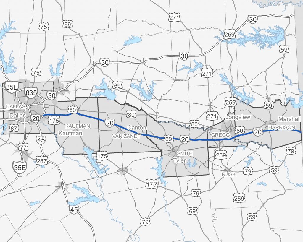 I-20 East Texas Corridor Study - Texas Mile Marker Map I 20