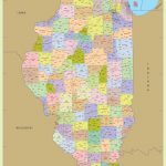 Illinois Zip Code Map With Counties (48″ W X 64″ H) | #worldmapstore   Illinois County Map With Cities Printable