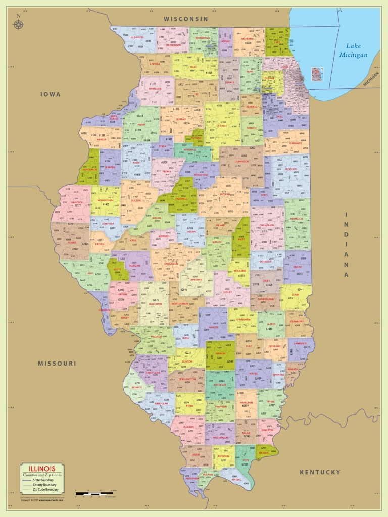 Illinois Zip Code Map With Counties (48″ W X 64″ H) | #worldmapstore - Illinois County Map With Cities Printable