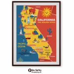 Illustrated Map Of California Cute Golden State Map Kids | Etsy   Illustrated Map Of California