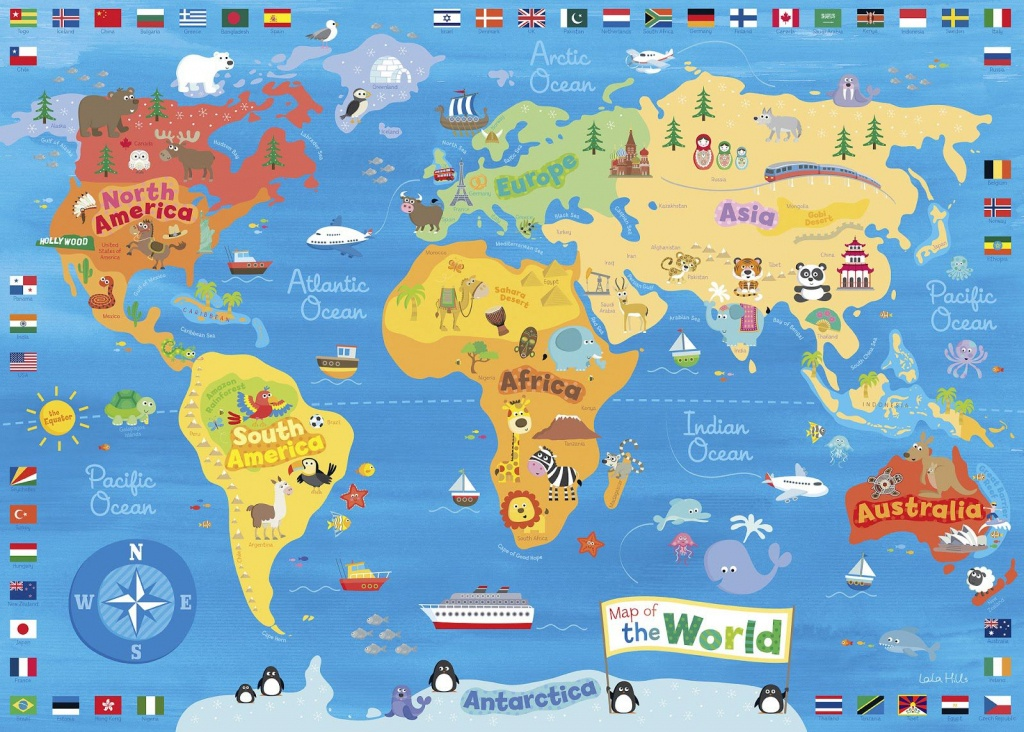 Illustrated Map Of The World For Kids (Children's World Map) | 4K - Children's Map Of The World Printable