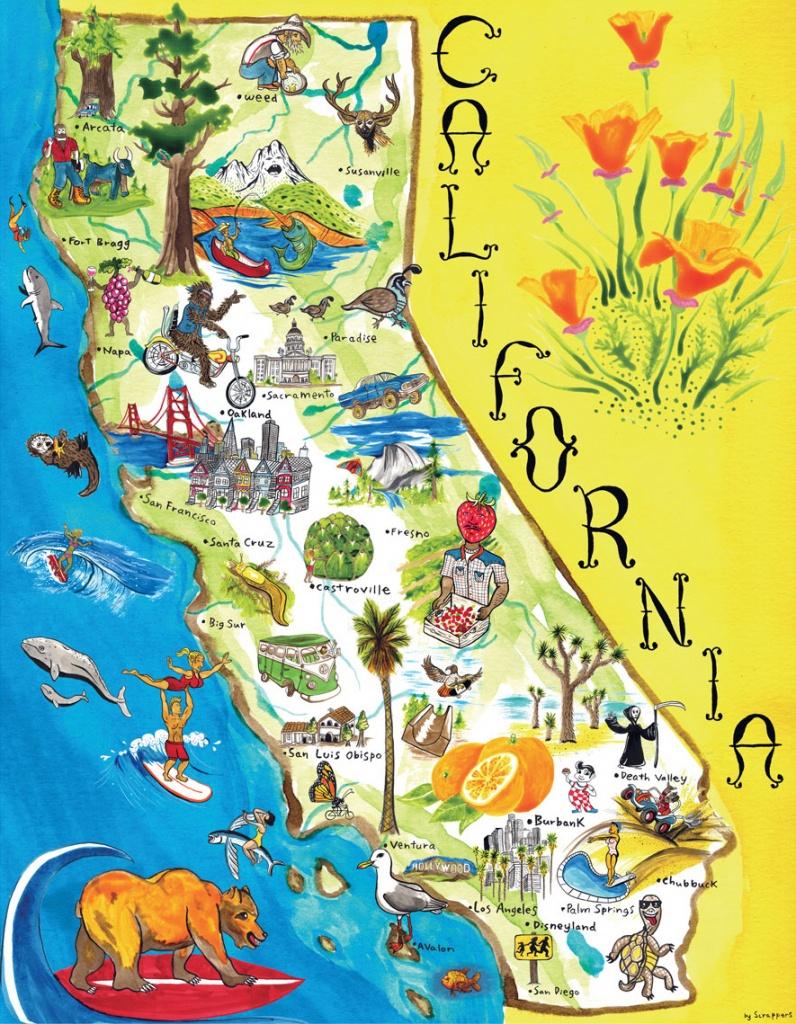 Illustrated Tourist Map Of California. California Illustrated - California Attractions Map