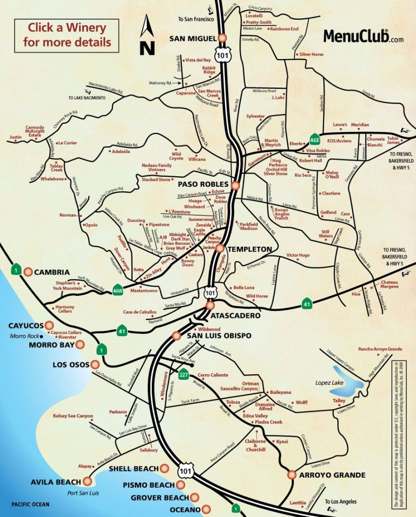 Image Detail For - San Luis Obispo County Winery Map - California - San Luis Obispo California Map