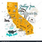 Image Vectorielle De Stock De Hand Drawn Illustration California Map   California Attractions Map