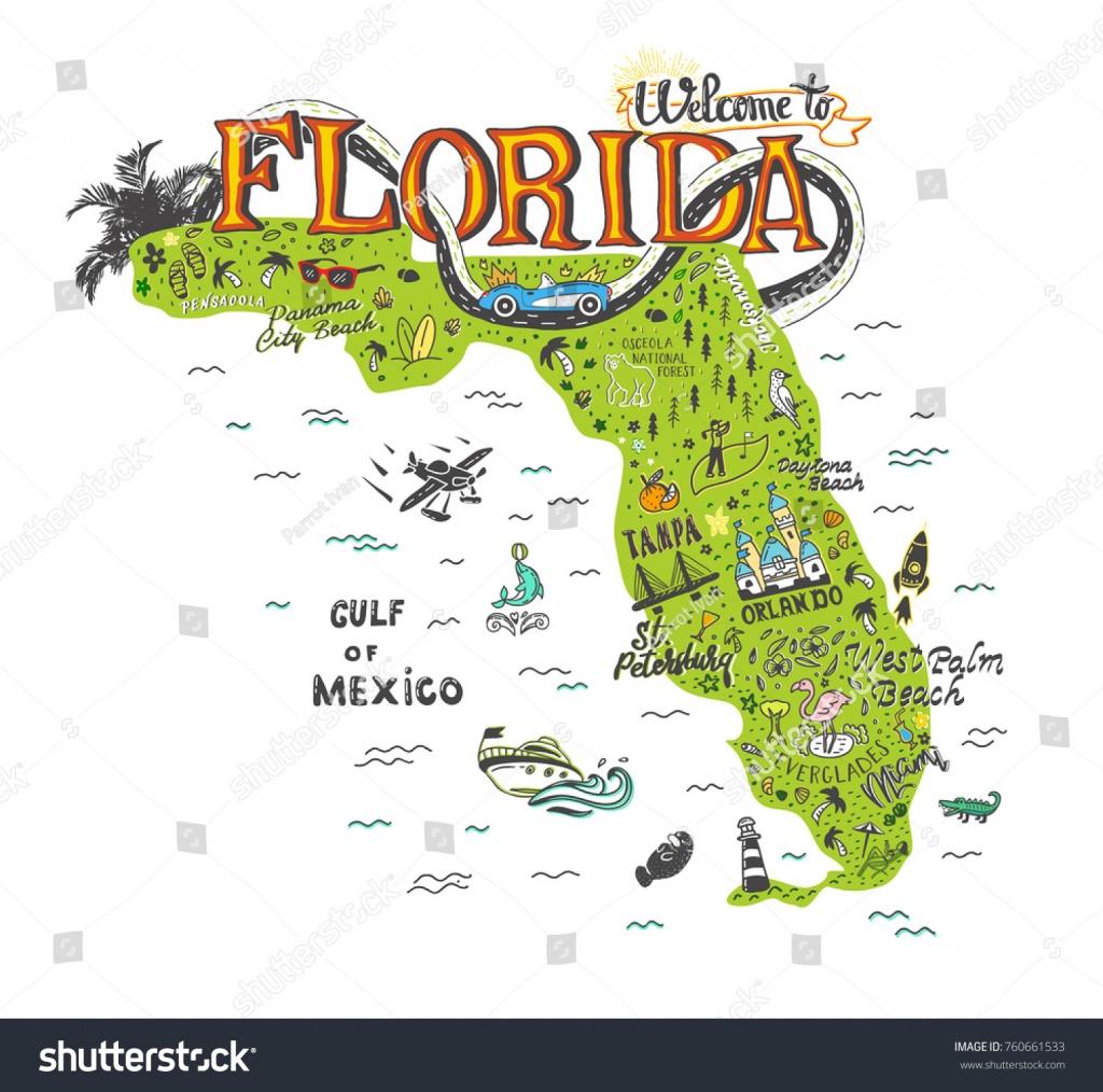 Image Vectorielle De Stock De Hand Drawn Illustration Florida Map - Florida Tourist Map
