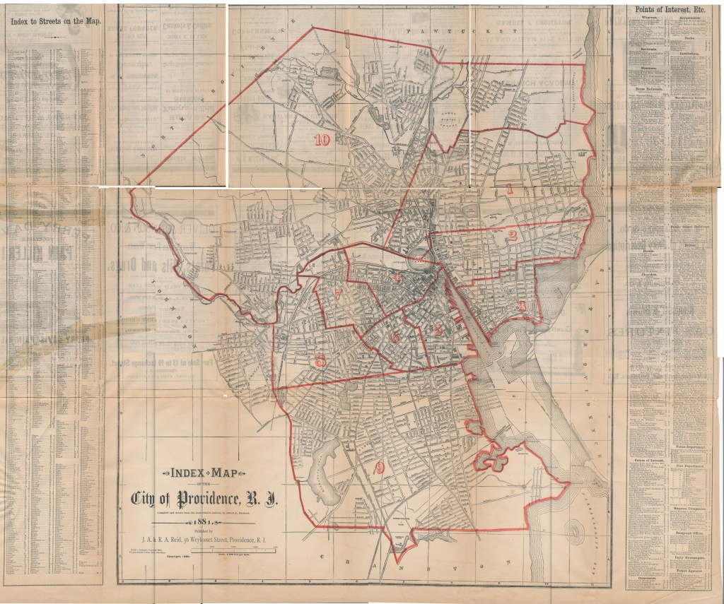 Index Map Of The City Of Providence, 1881 | One Rhode Island Family - Printable Map Of Providence Ri