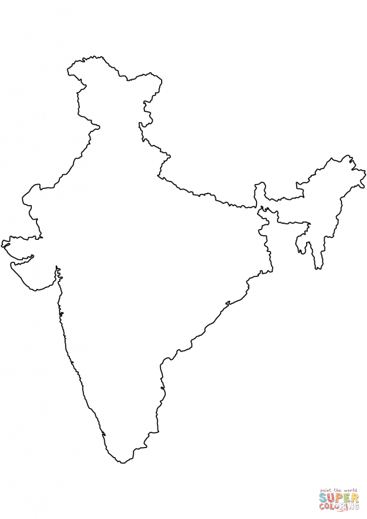 India Blank Outline Map Coloring Page | Free Printable Coloring Pages - Map Of India Blank Printable