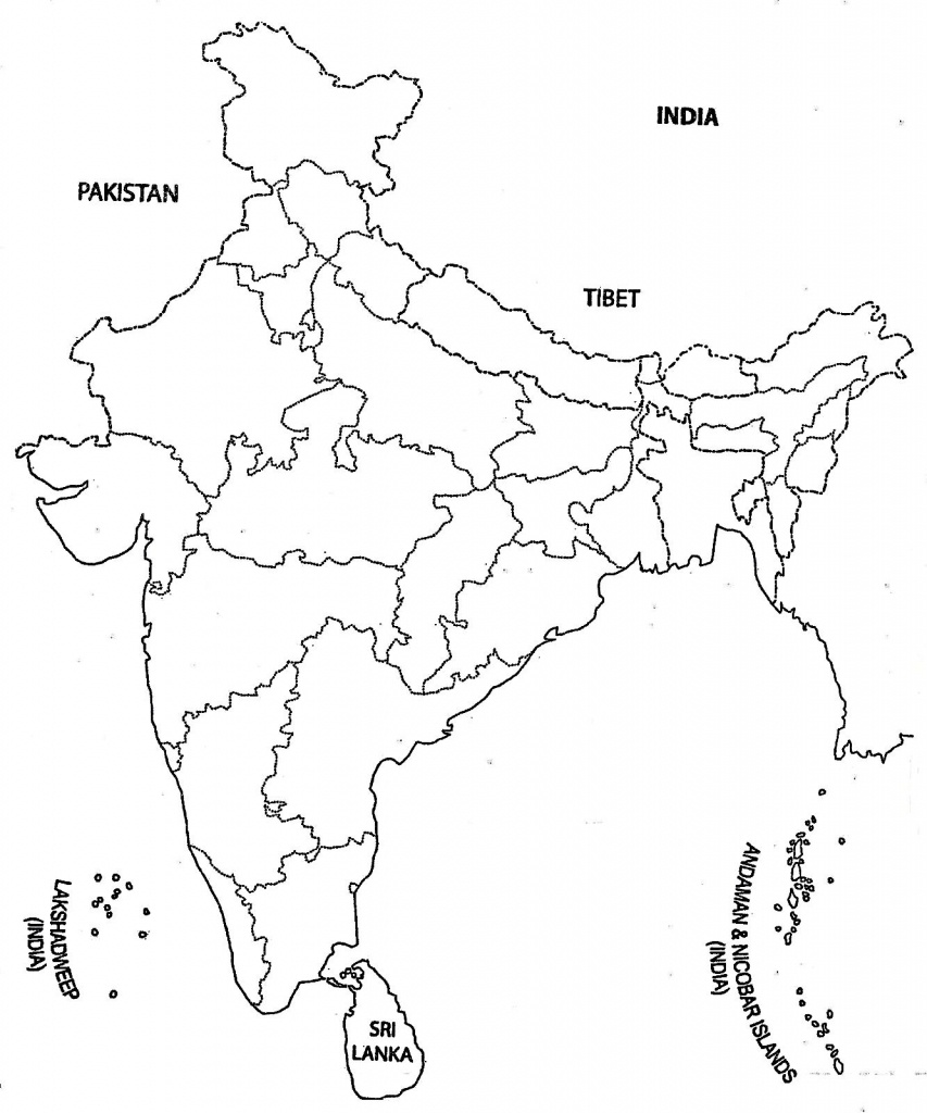 India Map Outline A4 Size | Map Of India With States | India Map - Physical Map Of India Outline Printable