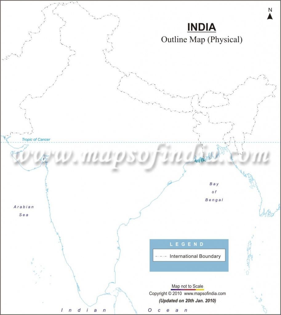 India Physical Map In A4 Size - Physical Map Of India Outline Printable