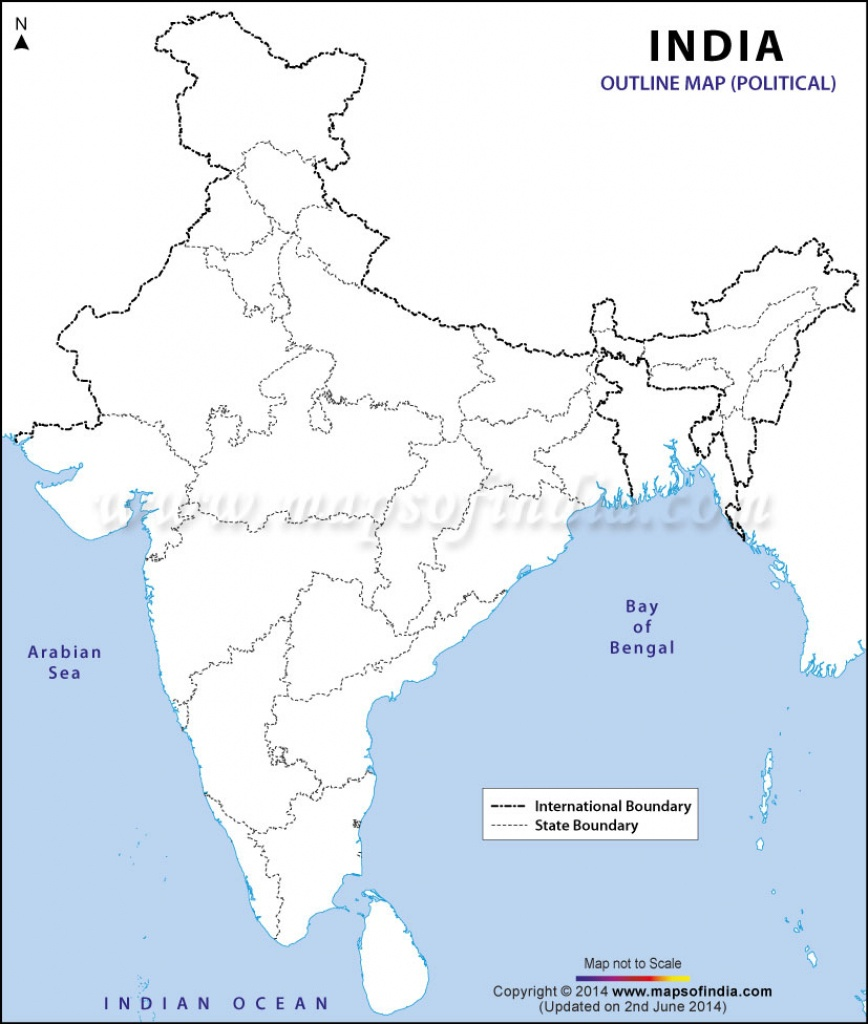 India Political Map In A4 Size - Physical Map Of India Outline Printable