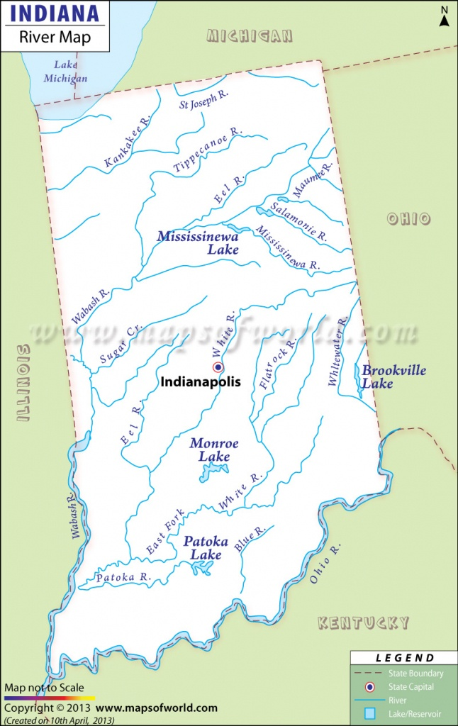 Indiana Rivers Map, Rivers In Indiana - Flow Map Printable