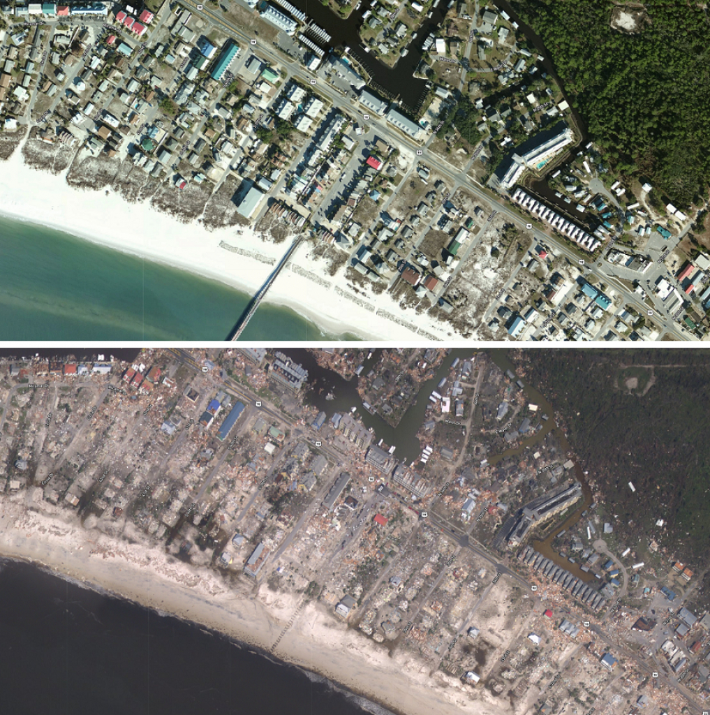 Interactive Before/after Maps Of Hurricane Michael's Wrath Online - Mexico Beach Florida Map