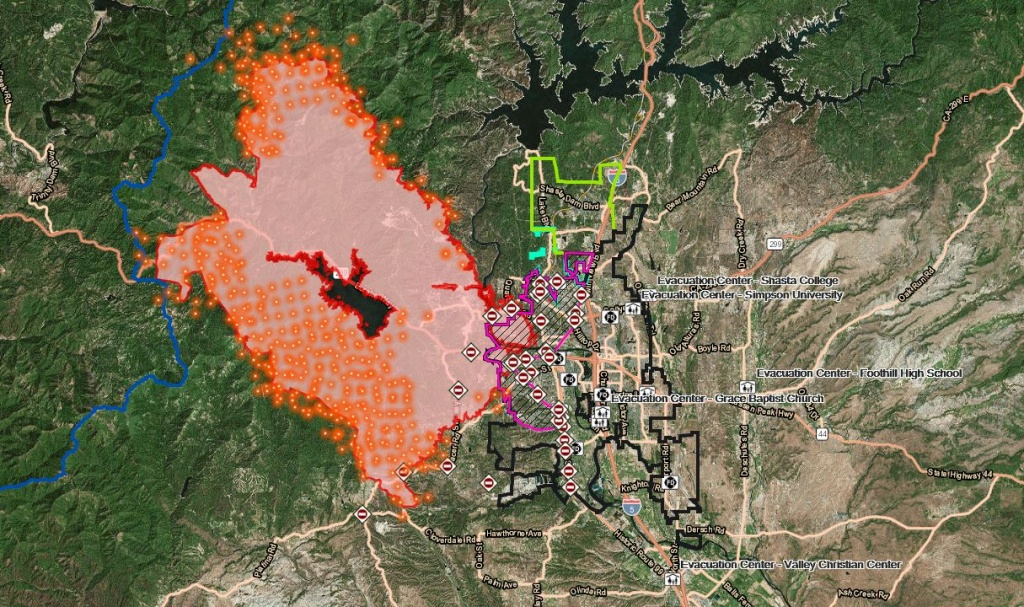 Interactive Maps: Carr Fire Activity, Structures And Repopulation - Fire Watch California Map