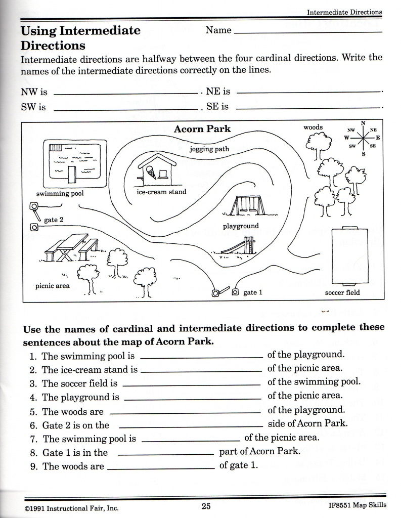Intermediate Directions Worksheet | Graphic Design & Logos | Map - Printable Map Skills Worksheets