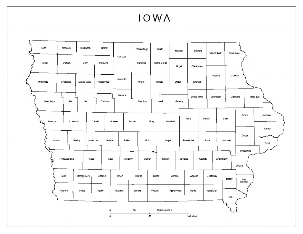 Iowa Labeled Map - Printable Map Of Iowa