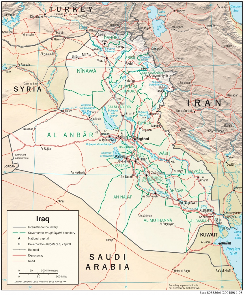 Iraq — Central Intelligence Agency - Printable Map Of Iraq