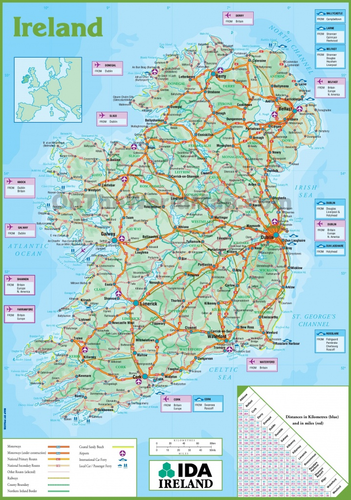 Ireland Road Map - Printable Map Of Ireland