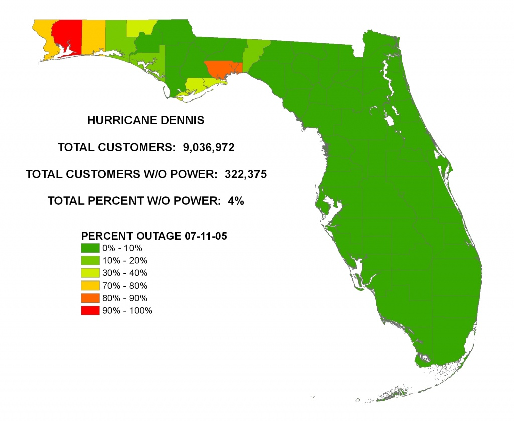 Iser - Hurricane Dennis - Power Outages In Florida Map