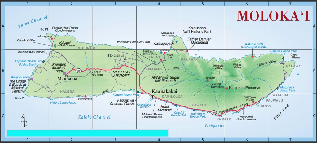Island Maps   Kihei Resort Home Owners Association Website - Molokai Map Printable