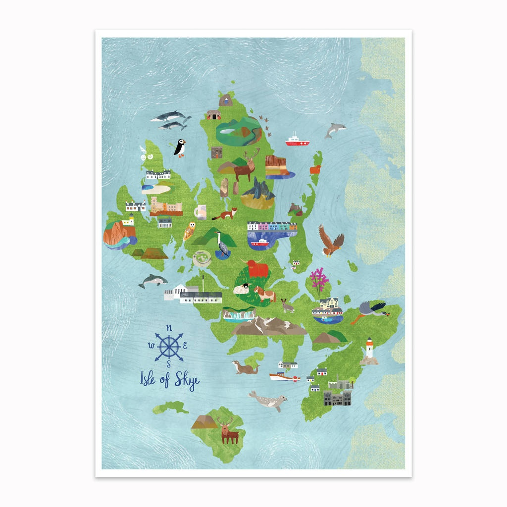 Isle Of Skye Illustrated Map - Printable Map Skye