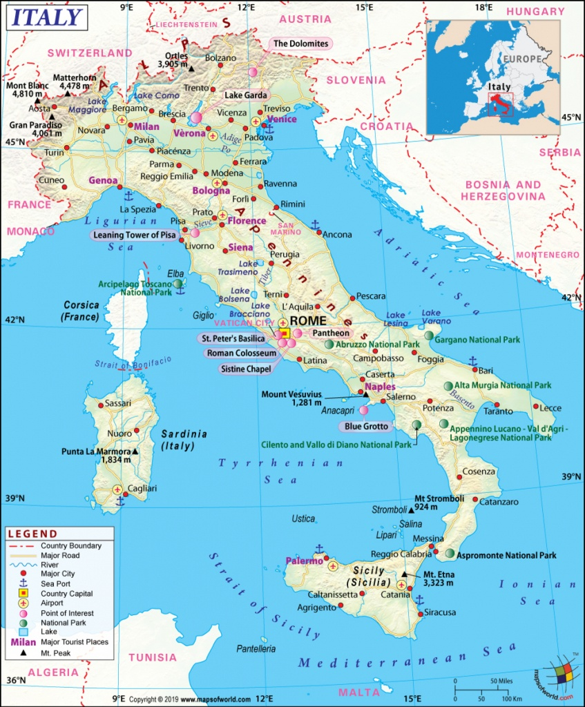 Italy Map, Map Of Italy, History And Intreseting Facts Of Italy - Free Printable Map Of Italy