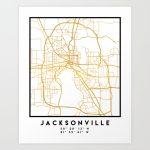Jacksonville Florida Street Map Art Art Printdeificusart | Society6 - Florida Street Map