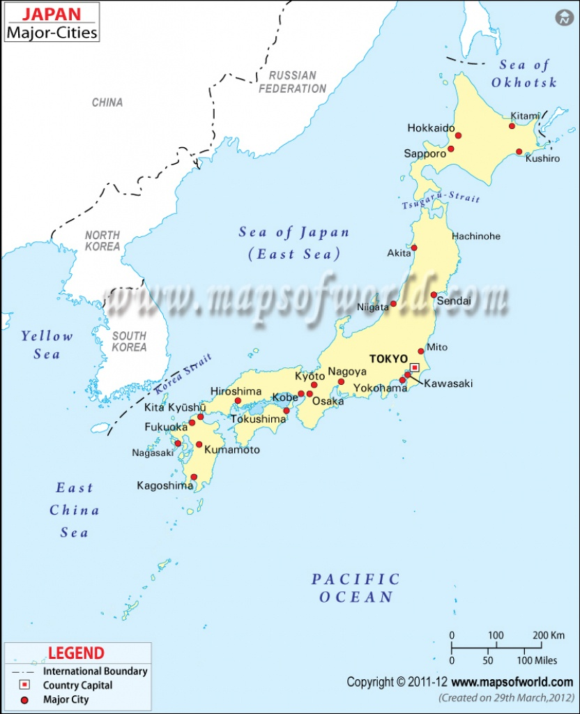 Japan Cities Map, Major Cities In Japan - Printable Map Of Japan With Cities