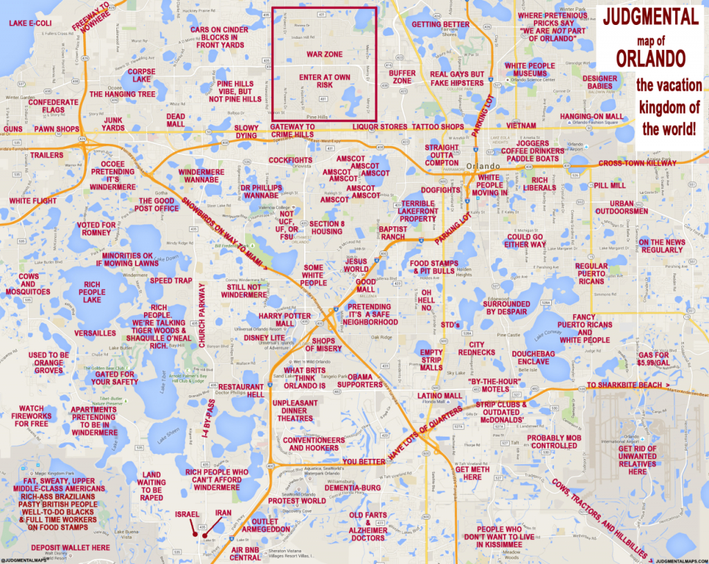 """Judgmental Maps"""" Takes On Orlando With Hilariously Offensive Results - Printable Map Of Orlando"""
