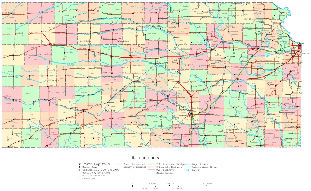 Kansas Printable Map - Printable Kansas Map With Cities
