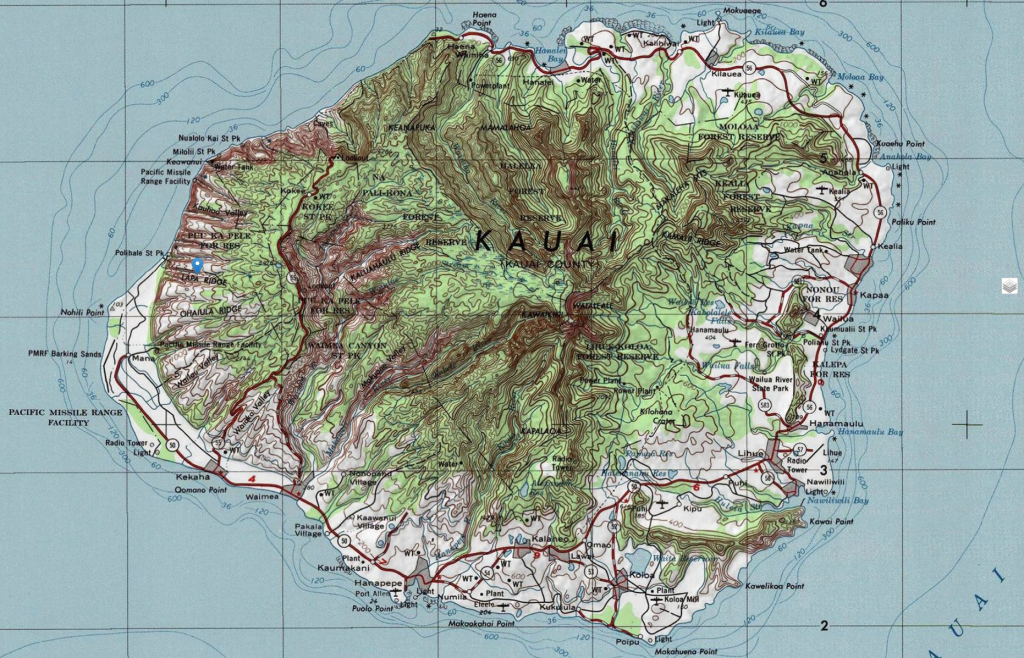 Kauai Topographic Maps - Printable Road Map Of Kauai