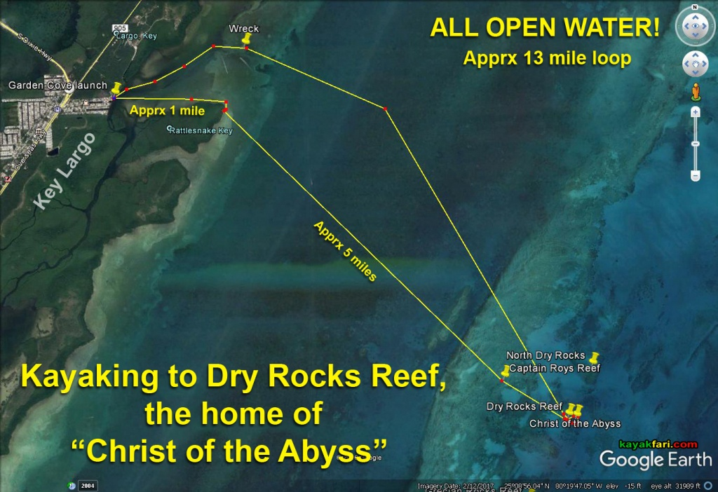 "Kayaking To Dry Rocks Reef – A Pilgrimage To Find The ""Christ Of The - Florida Keys Snorkeling Map"