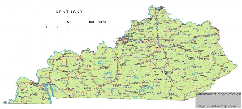 Kentucky State Route Network Map. Kentucky Highways Map. Cities Of - Printable Map Of Kentucky