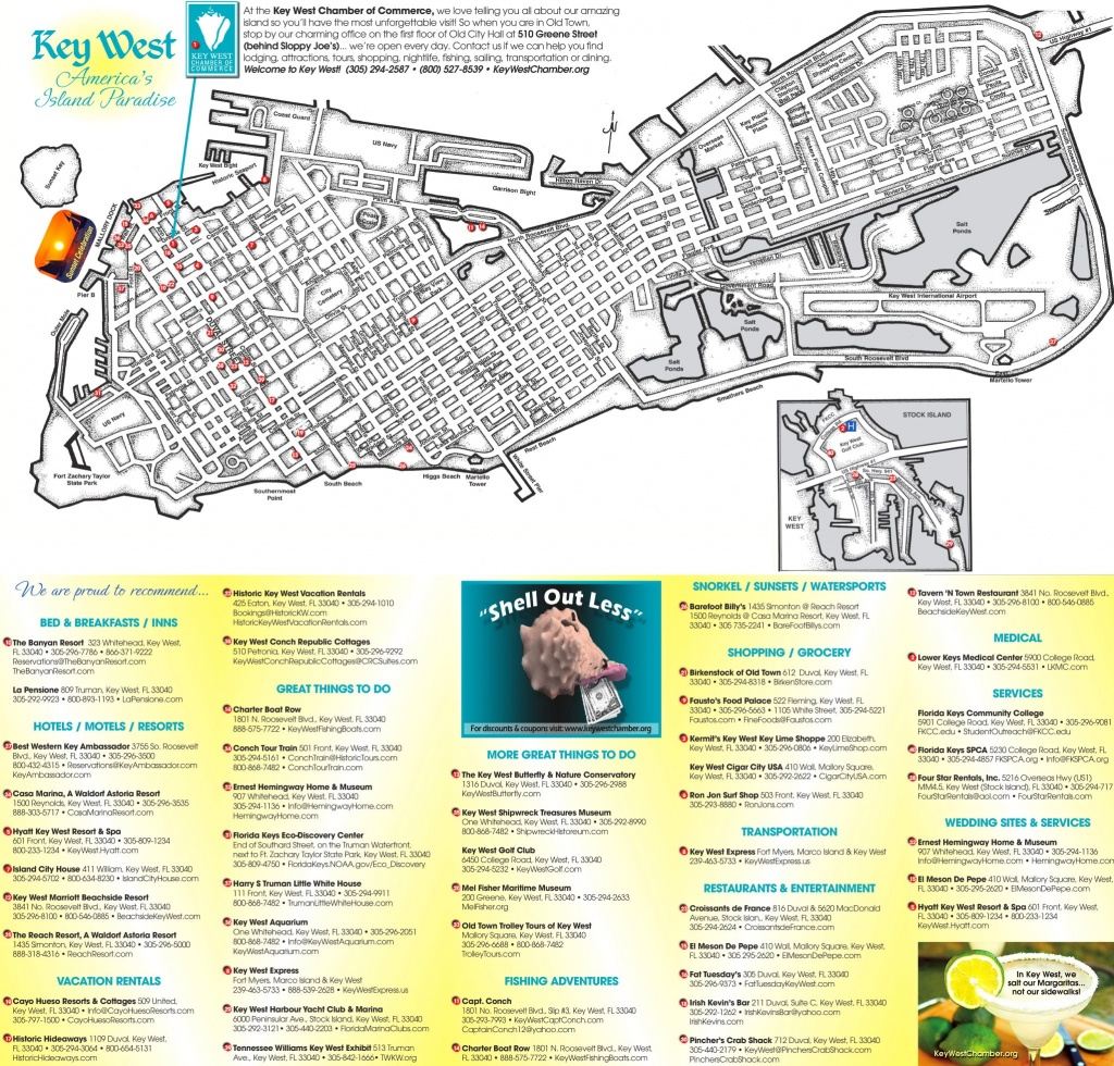 Key West Hotels And Sightseeings Map - Key West Florida Map Of Hotels