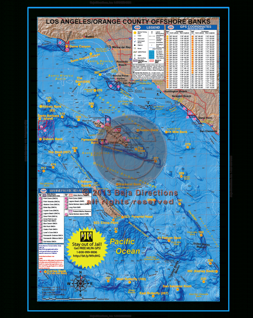 La / Orange County Offshore Banks - Baja Directions - Southern California Fishing Map