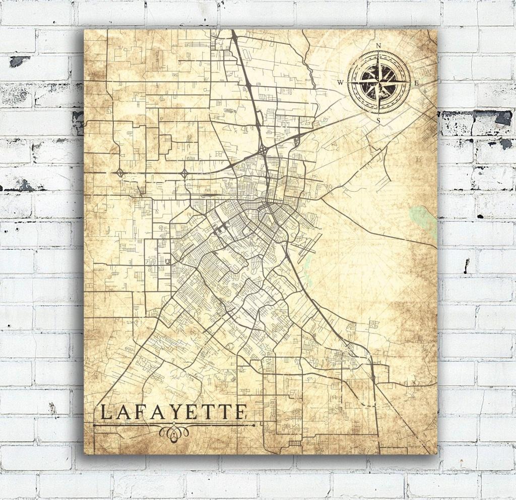 Lafayette La Canvas Print Louisiana La City Vintage Map Gift Home - Printable Map Of Lafayette La