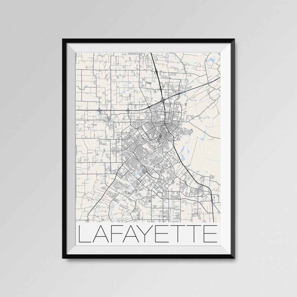 Lafayette Louisiana Map Lafayette City Map Print Lafayette | Etsy - Printable Map Of Lafayette La