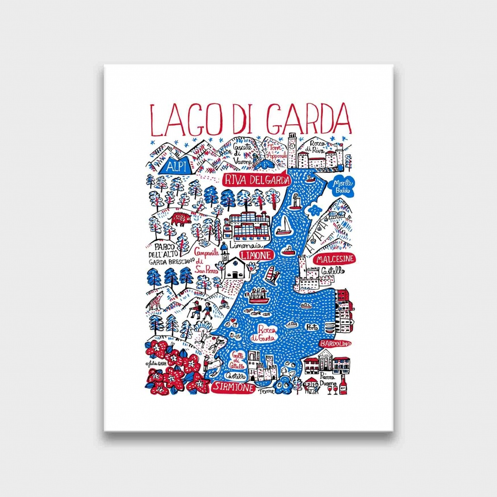 Lago Di Garda Contemporary Art Print | Julia Gash - Printable Map Of Lake Garda